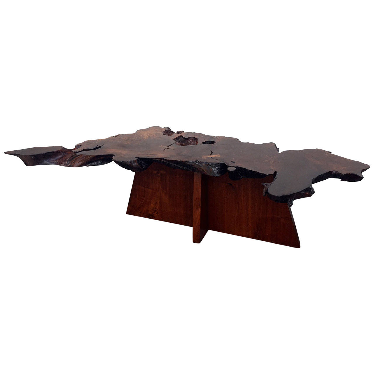 Rare and Exceptional Walnut and Redwood Root Coffee Table by Mira Nakashima