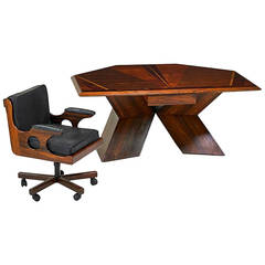 Rosewood Diamond Desk and Chair by Don Shoemaker Don  Shoemaker