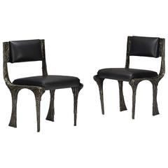 Pair of Sculpted Bronze Chairs by Paul Evans Paul  Evans