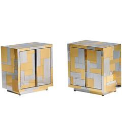 pair of cityscape nightstands Paul  Evans