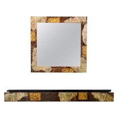 Paul Evans Patchwork Console and Mirror for Directional Paul  Evans