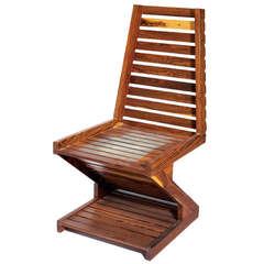 A rare zig zag cocobolo wood chair Don Shoemaker Don  Shoemaker