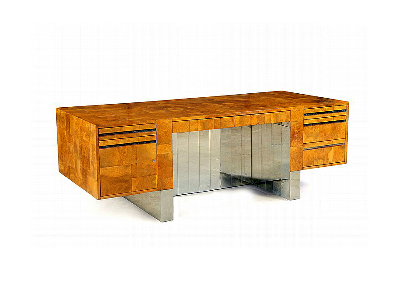 Large wood and chrome patchwork executive desk  Paul  Evans