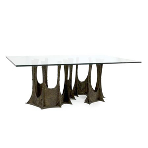 Sculpted bronze dining table by Paul Evans Paul  Evans