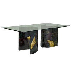 Sculptured Steel Dining Table Paul  Evans