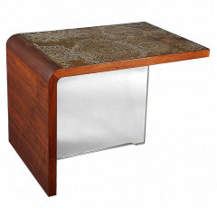 Table With Etched Bronze Panels Greenamyer Vladmir  Kagan