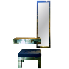 Cityscape wall mount brass console mirror bench set  Paul  Evans