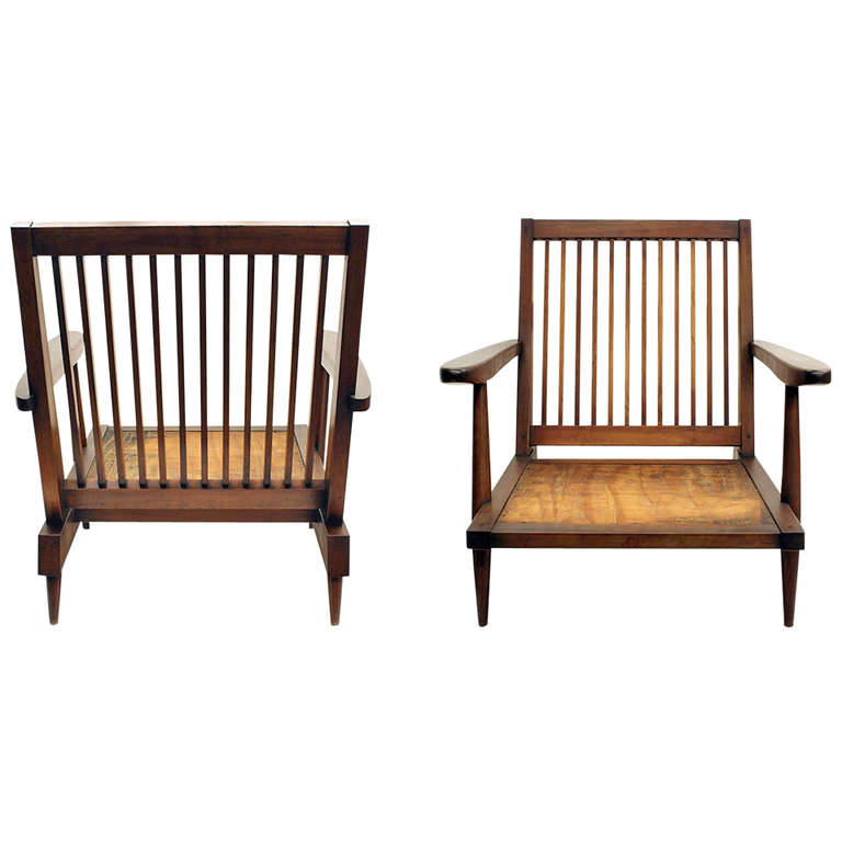 Pair of Walnut Arm Lounge Chairs