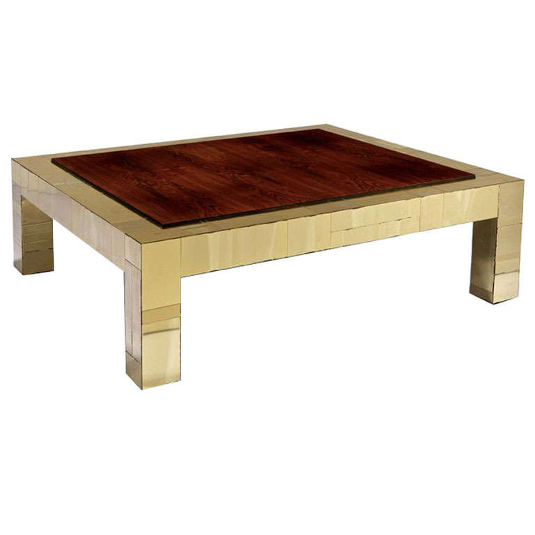 Brass and rosewood cityscape coffee table Paul Evans  Paul  Evans