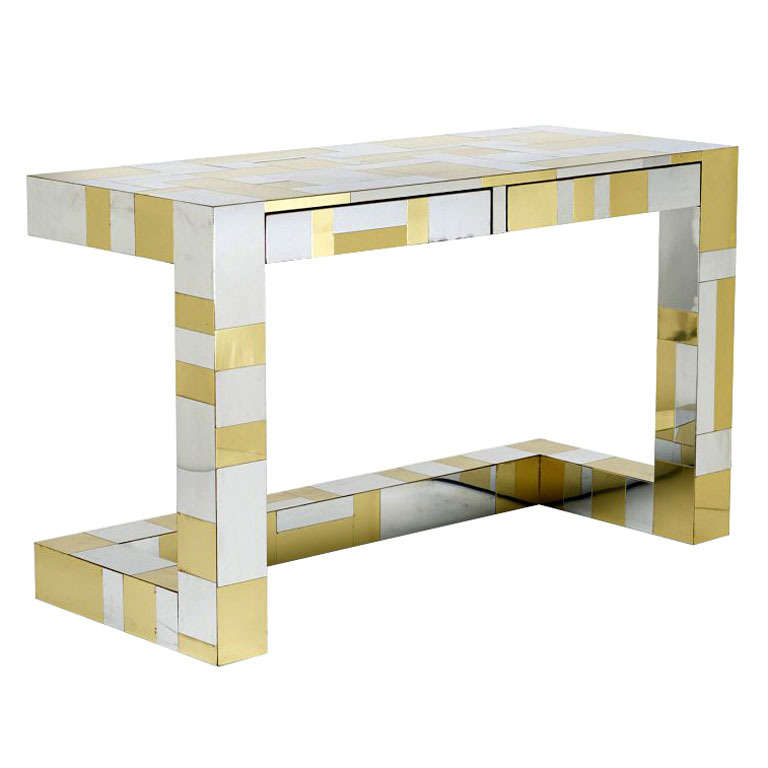 Chrome And Brass Cityscape Desk Paul Evans Paul  Evans