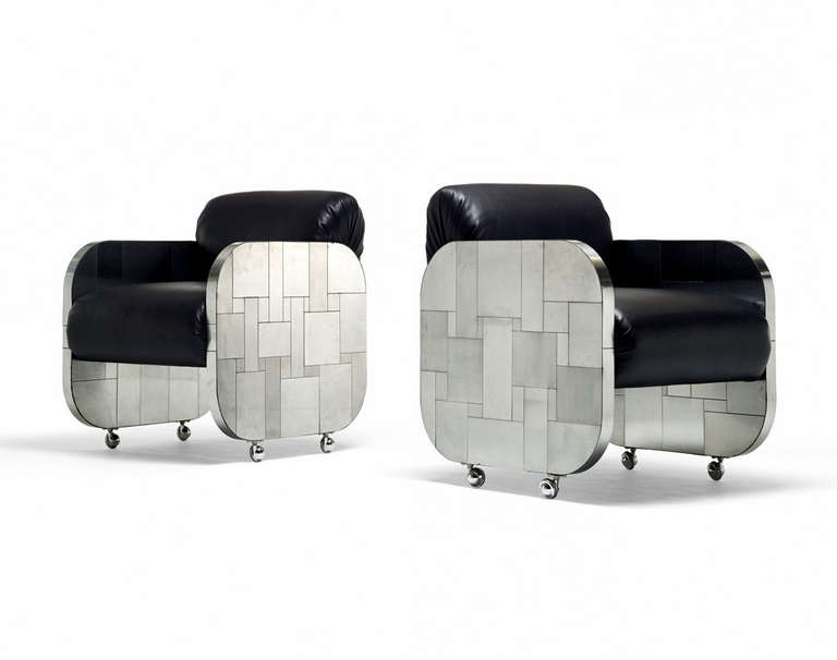 A Rare Pair of Cityscape Patchwork Lounge Chairs Paul Evans  Paul  Evans